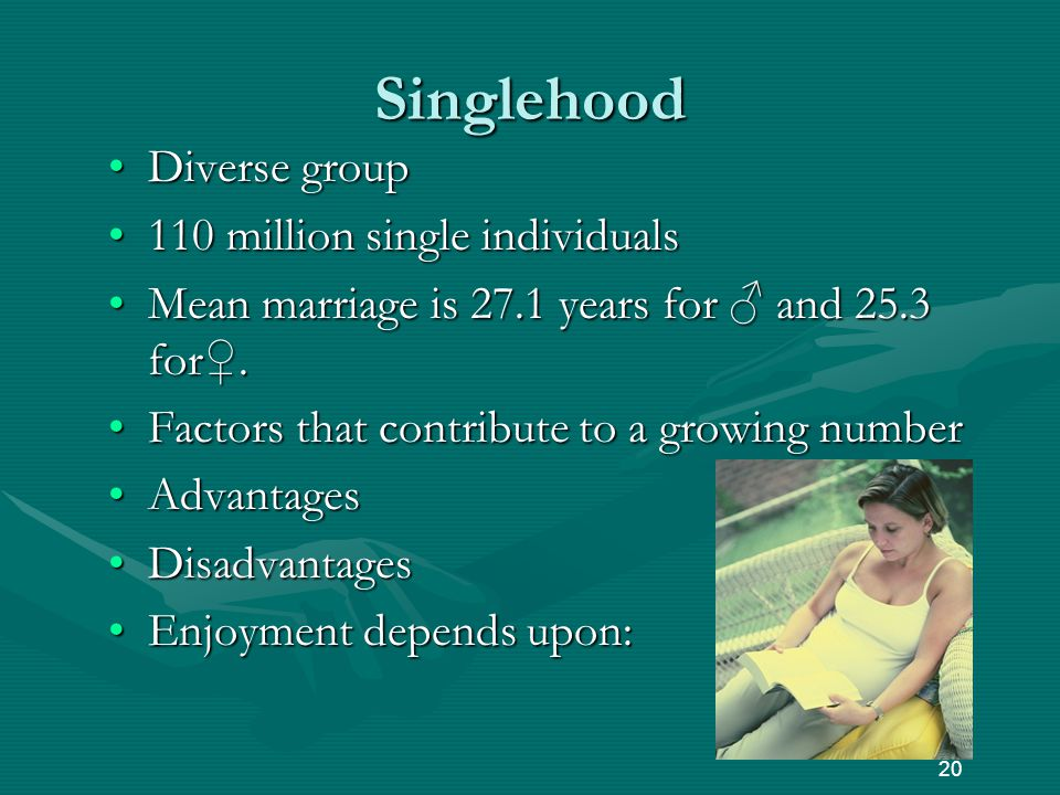 Singlehood Diverse groupDiverse group 110 million single individuals110 million single individuals Mean marriage is 27.1 years for ♂ and 25.3 for♀.Mean marriage is 27.1 years for ♂ and 25.3 for♀.