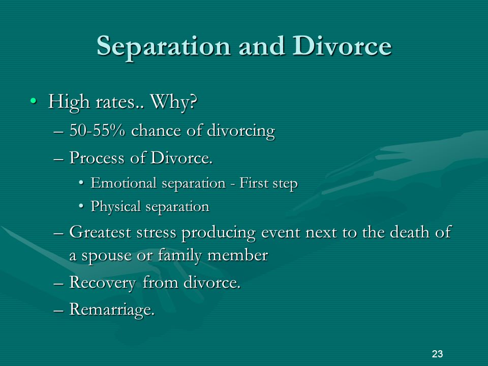 Separation and Divorce High rates.. Why High rates..