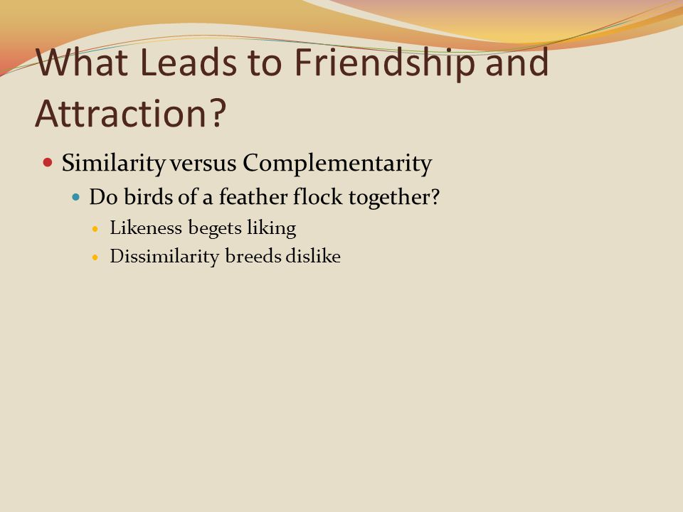 What Leads to Friendship and Attraction? Similarity versus Complementarity Do birds of a feather flock together? Likeness begets liking Dissimilarity