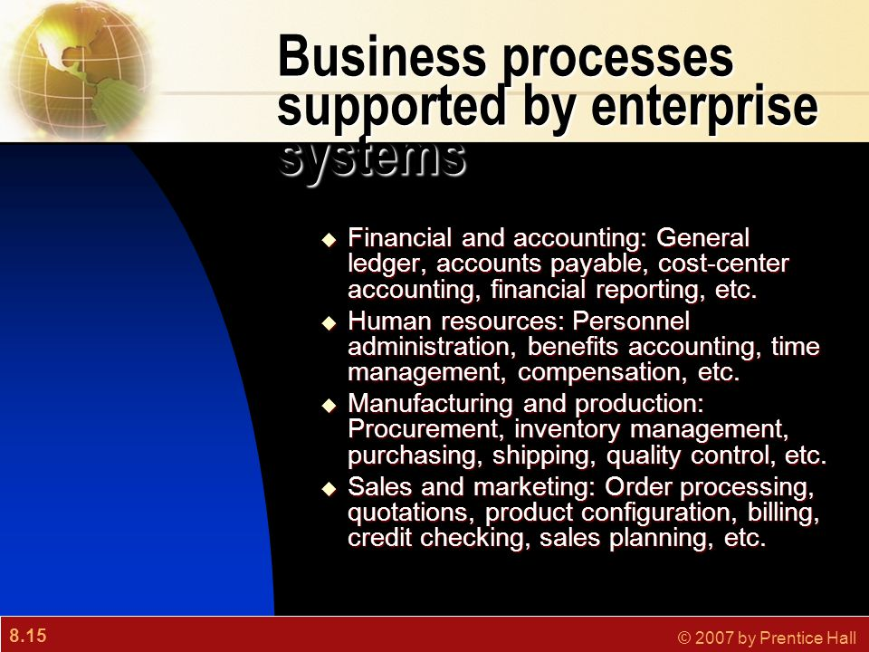 8.15 © 2007 by Prentice Hall Business processes supported by enterprise systems  Financial and accounting: General ledger, accounts payable, cost-center accounting, financial reporting, etc.