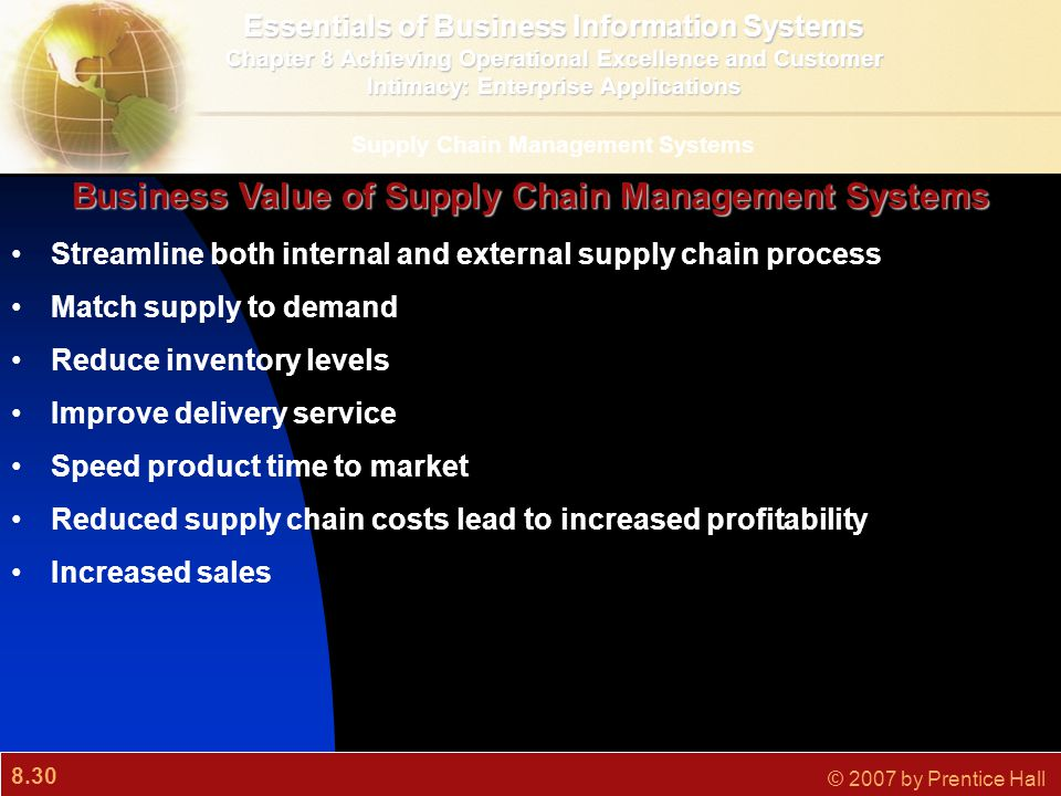 8.30 © 2007 by Prentice Hall Streamline both internal and external supply chain process Match supply to demand Reduce inventory levels Improve deliver
