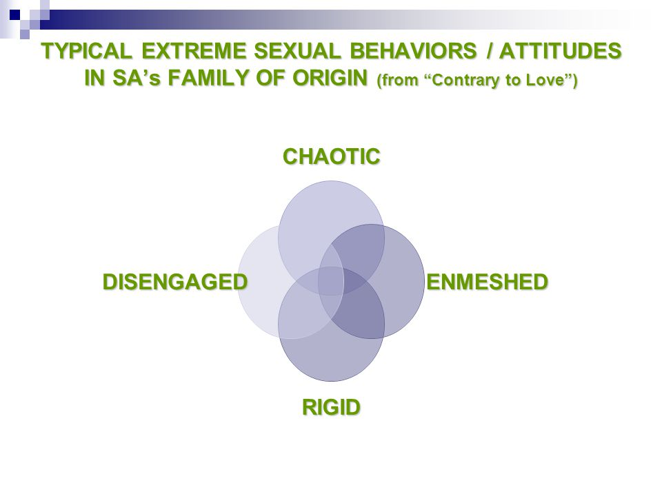 """TYPICAL EXTREME SEXUAL BEHAVIORS / ATTITUDES IN SA's FAMILY OF ORIGIN (from """"Contrary to Love"""") CHAOTIC ENMESHED RIGID DISENGAGED"""