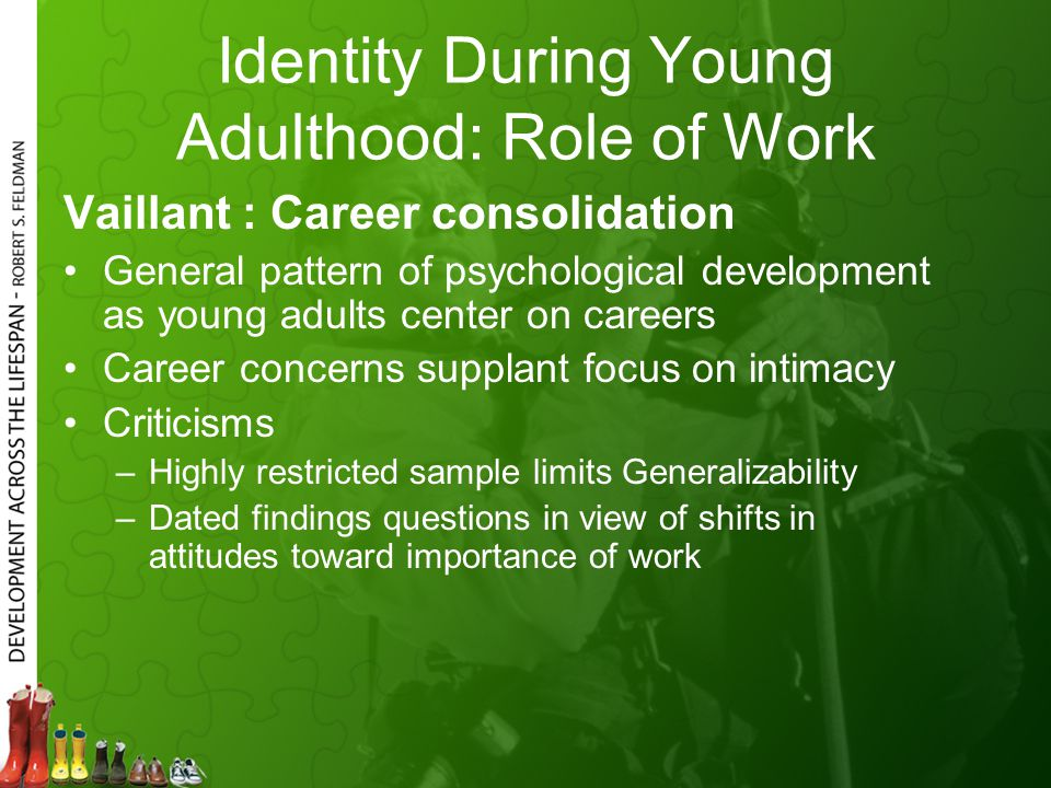 Identity During Young Adulthood: Role of Work Vaillant : Career consolidation General pattern of psychological development as young adults center on c