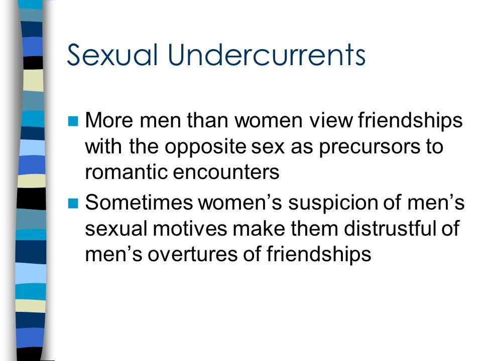 Factors that impede cross-sex friendships Sexual undercurrents Societal pressure Different expectations
