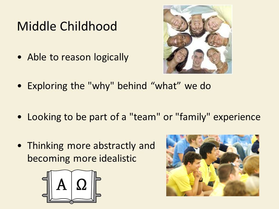 Middle Childhood Able to reason logically Exploring the why behind what we do Looking to be part of a team or family experience Thinking more abstractly and becoming more idealistic