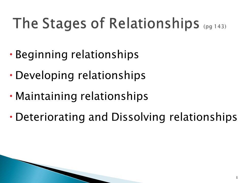  Beginning relationships  Developing relationships  Maintaining relationships  Deteriorating and Dissolving relationships 8