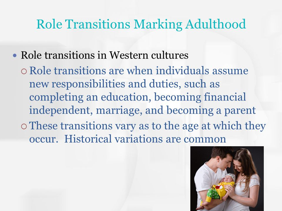 Role Transitions Marking Adulthood Emerging adulthood – a period when individuals are not adolescents but not yet fully adults Time to explore careers, self-identity, commitments