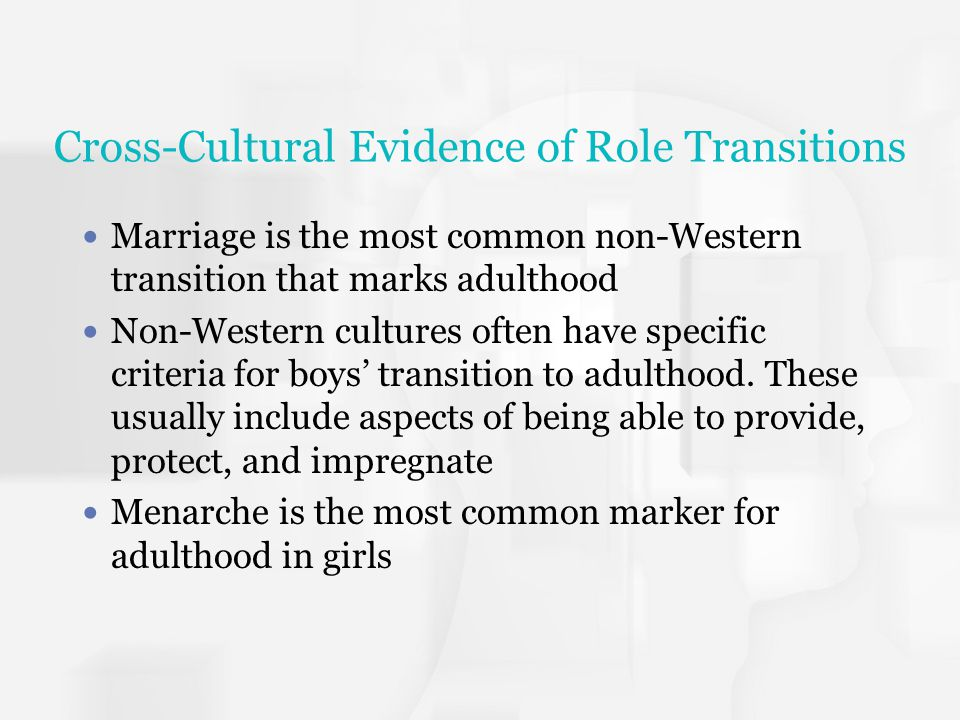 Rile Transitions in Western Culture Role transitions involve assuming new responsibilities and duties Voting, completing education, beginning full time employment, leaving home, establishing a household, being financially independent, getting married, becoming a parent Transitions often spread over several years In Western society there are no clear age dependent rituals marking adulthood Young people may make their own such as initiation into a society,drinking