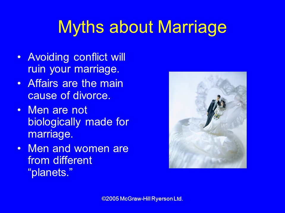 ©2005 McGraw-Hill Ryerson Ltd.Myths about Marriage Avoiding conflict will ruin your marriage.