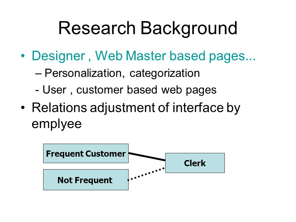 Research Background Designer, Web Master based pages … –Personalization, categorization - User, customer based web pages Relations adjustment of interface by emplyee Frequent Customer Not Frequent Clerk