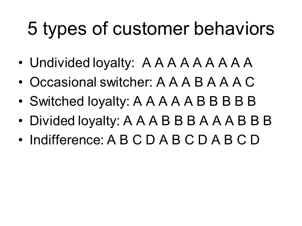 5 types of customer behaviors Undivided loyalty: A A A A A A A A A Occasional switcher: A A A B A A A C Switched loyalty: A A A A A B B B B B Divided loyalty: A A A B B B A A A B B B Indifference: A B C D A B C D A B C D