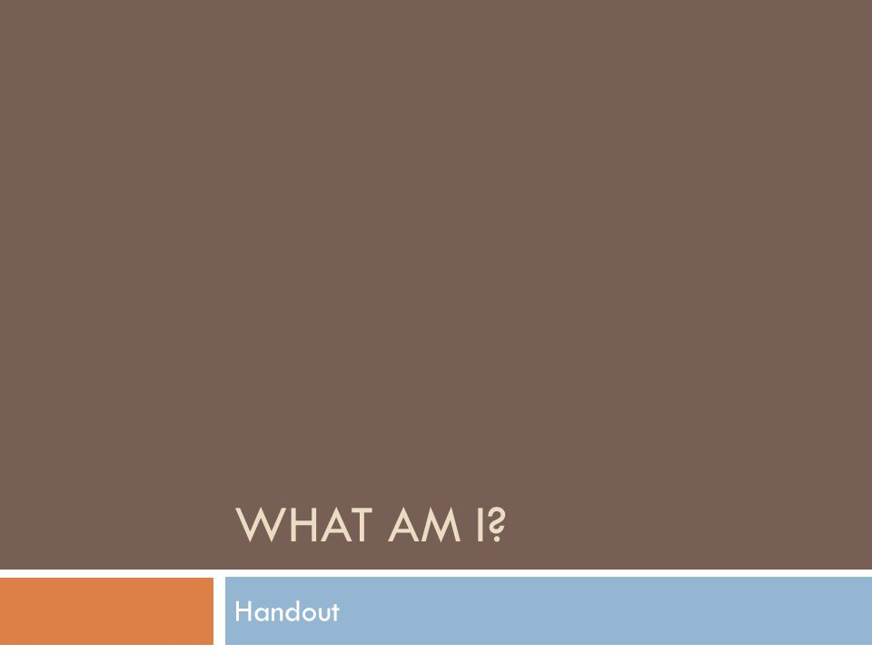 WHAT AM I Handout