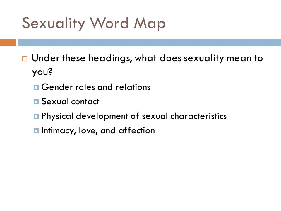 Sexuality Word Map  Under these headings, what does sexuality mean to you?  Gender roles and relations  Sexual contact  Physical development of se