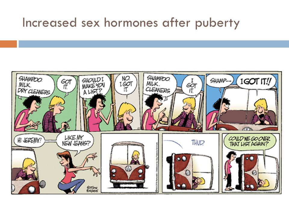 Increased sex hormones after puberty