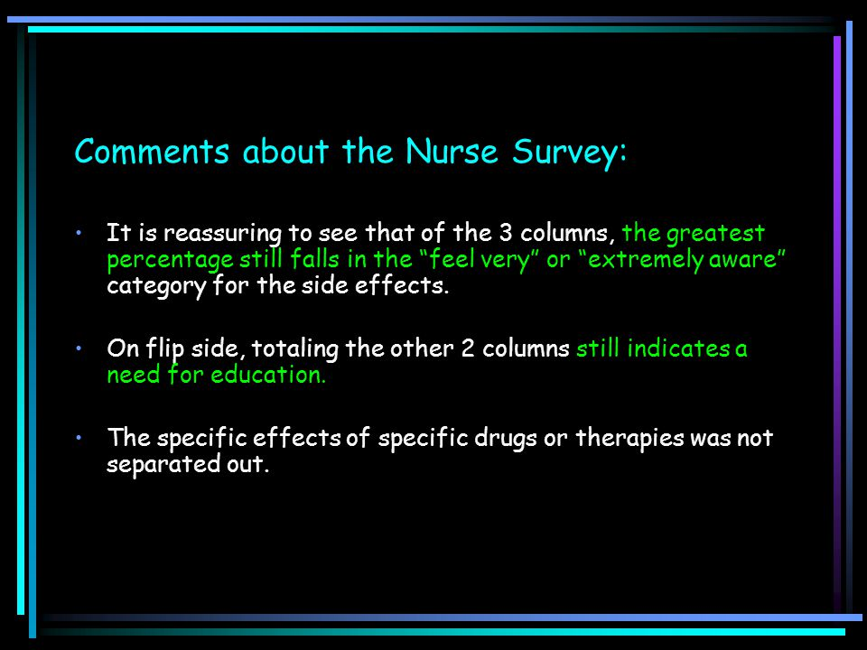 "Comments about the Nurse Survey: It is reassuring to see that of the 3 columns, the greatest percentage still falls in the ""feel very"" or ""extremely a"