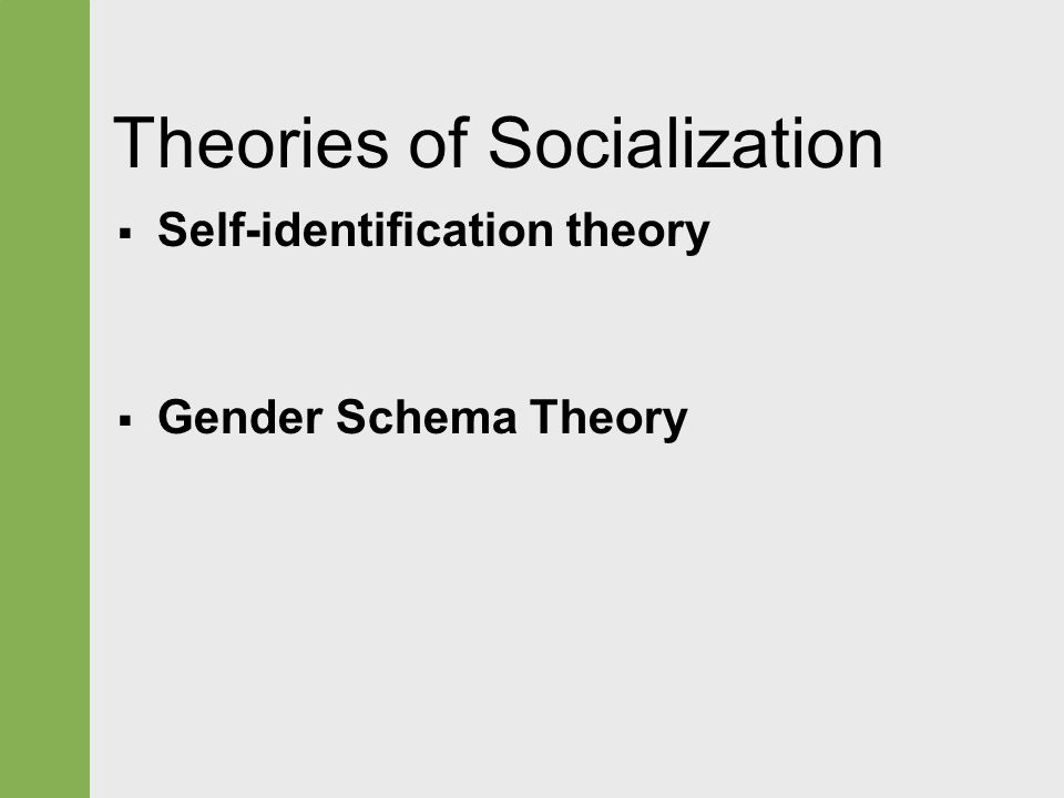 Theories of Socialization  Self-identification theory  Gender Schema Theory