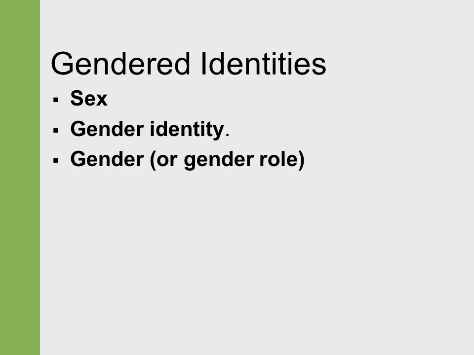Gendered Identities  Sex  Gender identity.  Gender (or gender role)