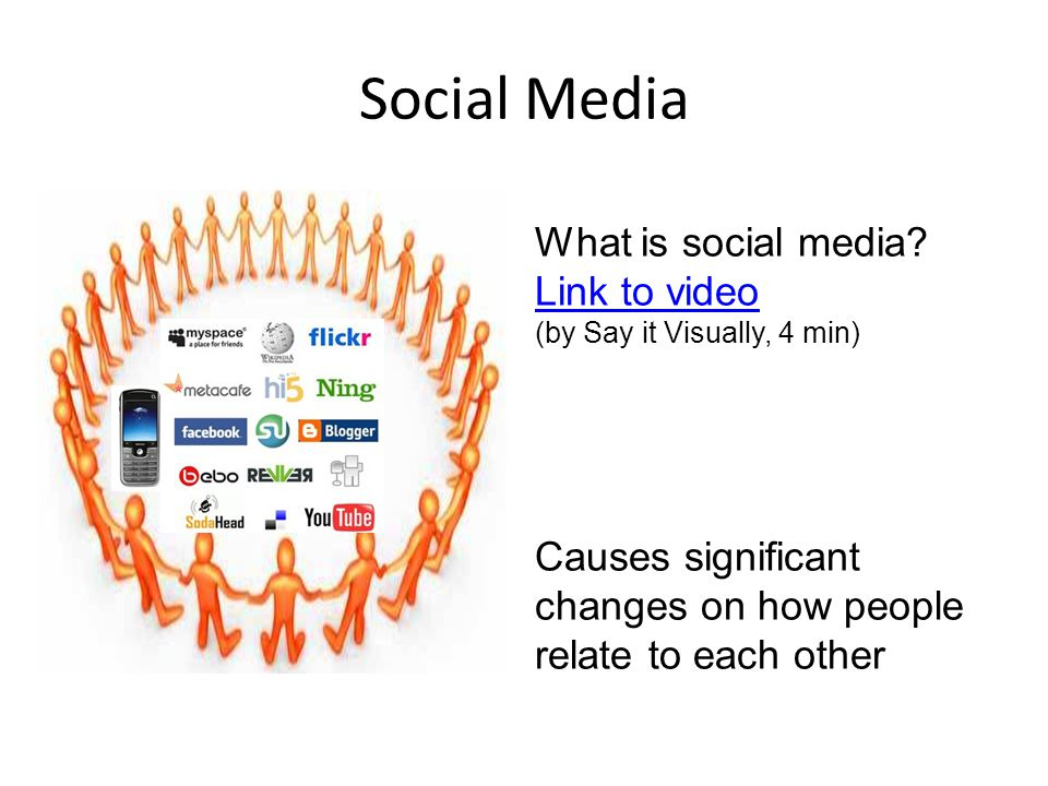 Social Media What is social media? Link to video Link to video (by Say it Visually, 4 min) Causes significant changes on how people relate to each oth
