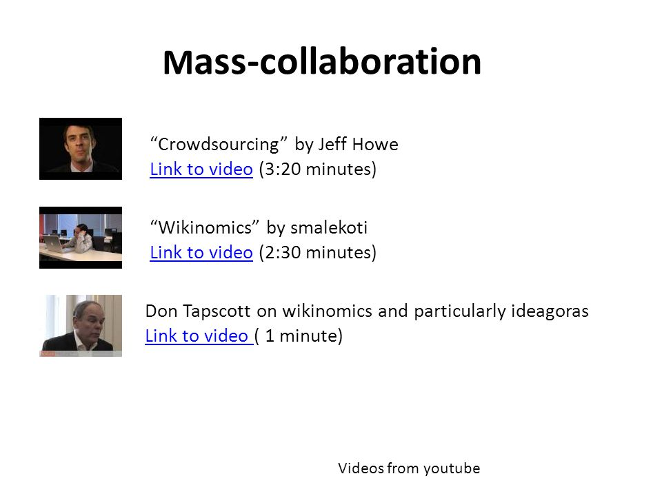 """M ass-collaboration """"Wikinomics"""" by smalekoti Link to videoLink to video (2:30 minutes) Don Tapscott on wikinomics and particularly ideagoras Link to"""