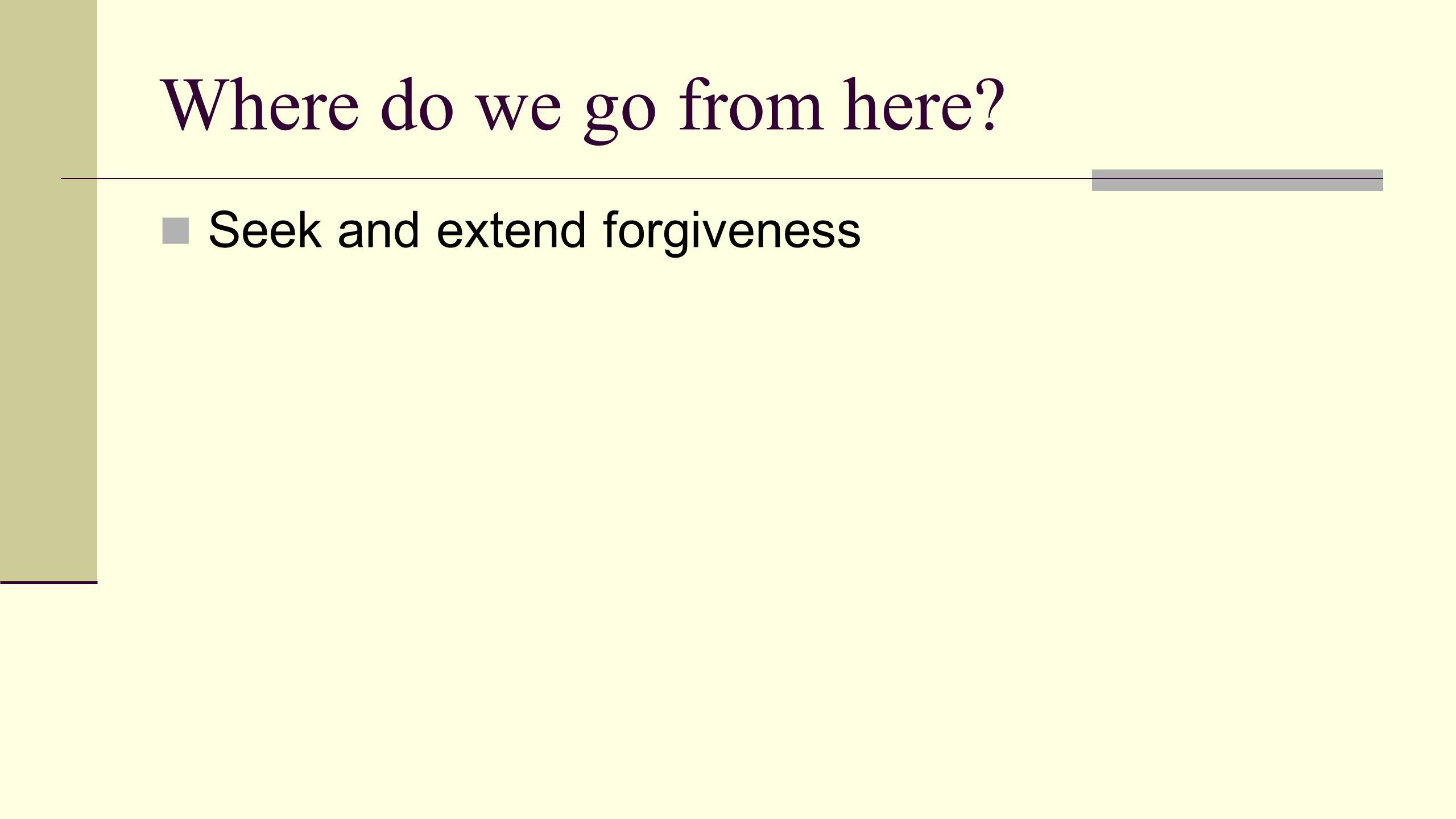 Seek and extend forgiveness