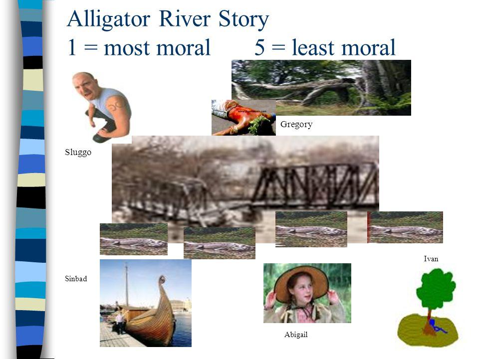 Alligator River Story 1 = most moral 5 = least moral Sluggo Gregory Sinbad Abigail Ivan