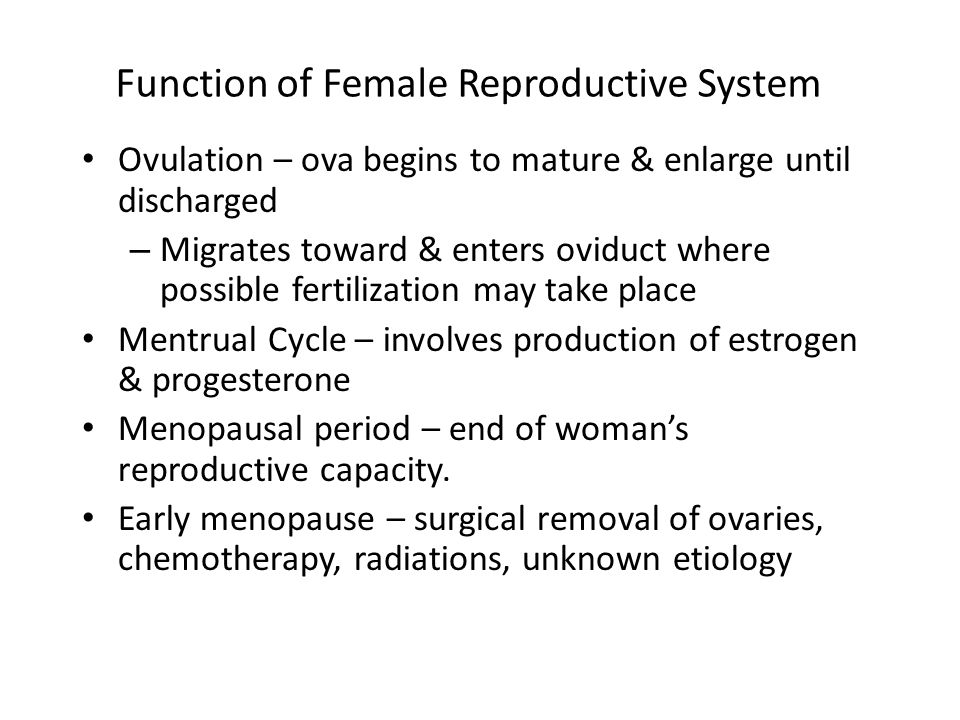 Function of Female Reproductive System Ovulation – ova begins to mature & enlarge until discharged – Migrates toward & enters oviduct where possible f