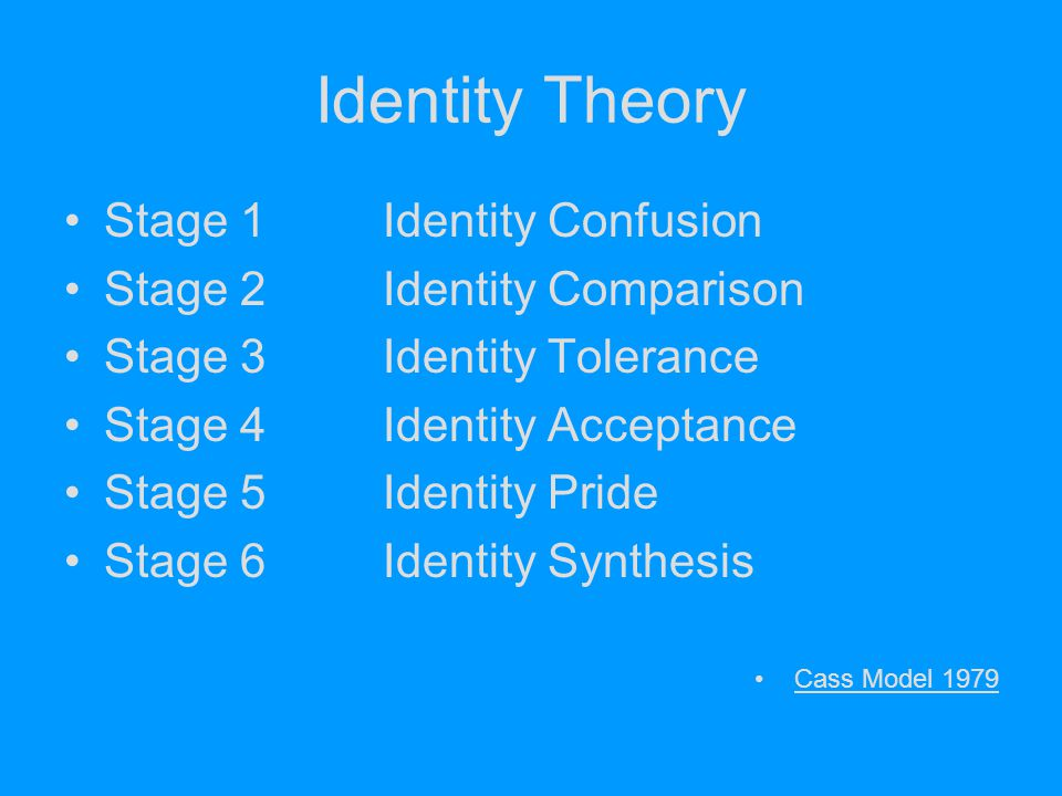 Identity Theory Stage 1Identity Confusion Stage 2Identity Comparison Stage 3Identity Tolerance Stage 4Identity Acceptance Stage 5Identity Pride Stage