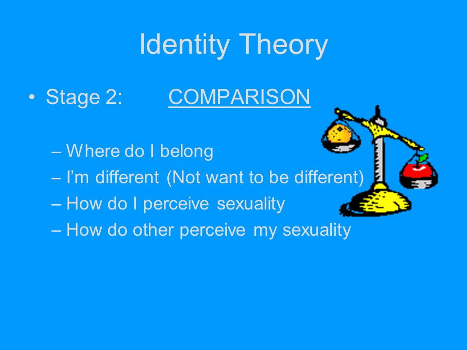 Identity Theory Stage 2:COMPARISON –Where do I belong –I'm different (Not want to be different) –How do I perceive sexuality –How do other perceive my
