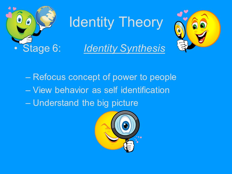 Identity Theory Stage 6:Identity Synthesis –Refocus concept of power to people –View behavior as self identification –Understand the big picture
