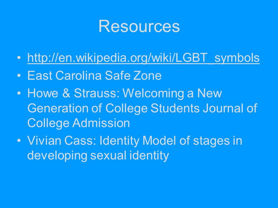 Resources http://en.wikipedia.org/wiki/LGBT_symbols East Carolina Safe Zone Howe & Strauss: Welcoming a New Generation of College Students Journal of