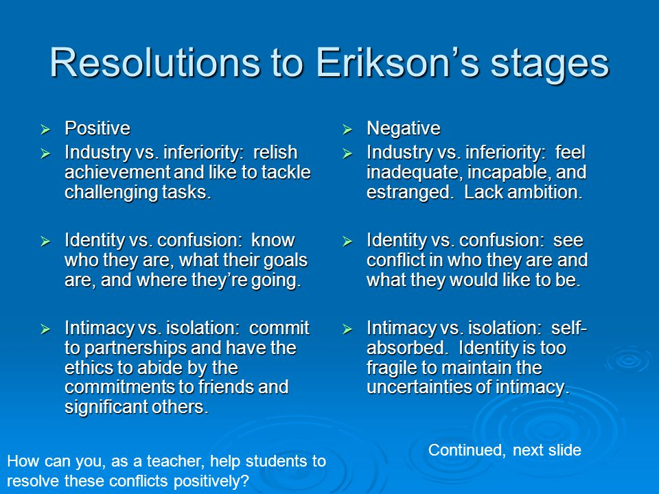 Resolutions to Erikson's stages  Positive  Industry vs. inferiority: relish achievement and like to tackle challenging tasks.  Identity vs. confusi