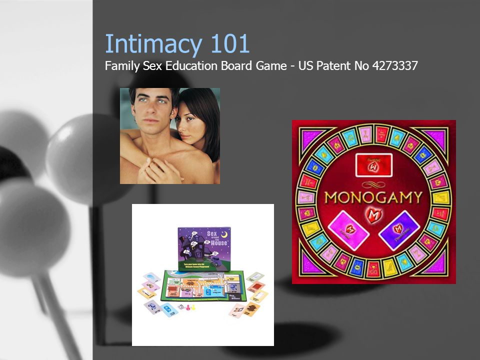 Intimacy 101 Family Sex Education Board Game - US Patent No 4273337