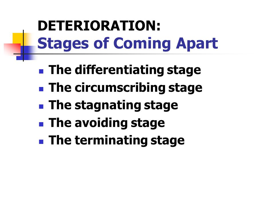 DETERIORATION: Stages of Coming Apart The differentiating stage The circumscribing stage The stagnating stage The avoiding stage The terminating stage