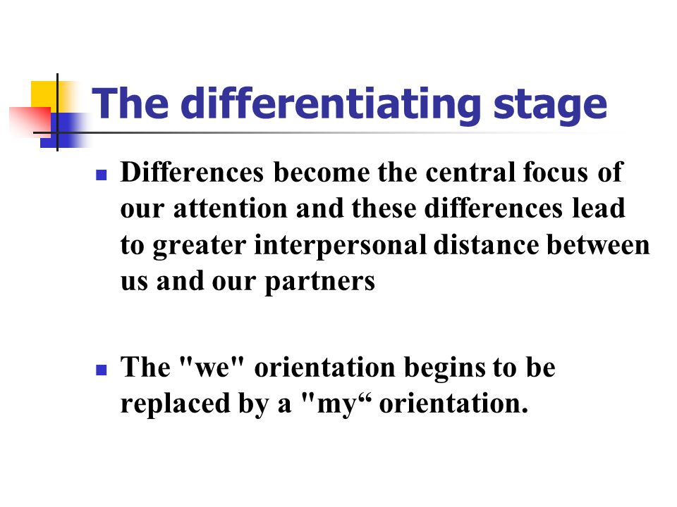 The differentiating stage Differences become the central focus of our attention and these differences lead to greater interpersonal distance between us and our partners The we orientation begins to be replaced by a my orientation.