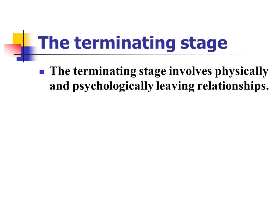 The terminating stage The terminating stage involves physically and psychologically leaving relationships.