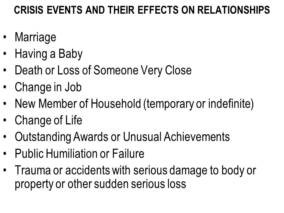 CRISIS EVENTS AND THEIR EFFECTS ON RELATIONSHIPS Marriage Having a Baby Death or Loss of Someone Very Close Change in Job New Member of Household (temporary or indefinite) Change of Life Outstanding Awards or Unusual Achievements Public Humiliation or Failure Trauma or accidents with serious damage to body or property or other sudden serious loss