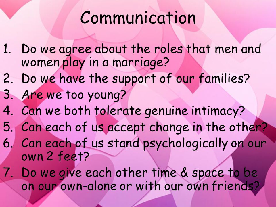 Communication 1.Do we agree about the roles that men and women play in a marriage.