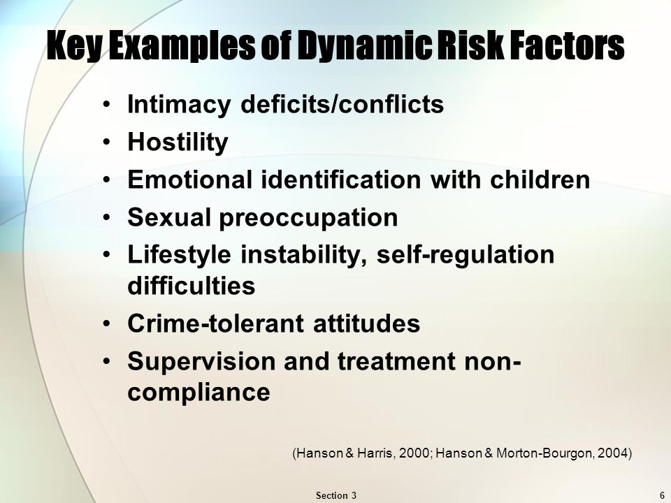 Section 36 Key Examples of Dynamic Risk Factors Intimacy deficits/conflicts Hostility Emotional identification with children Sexual preoccupation Lifestyle instability, self-regulation difficulties Crime-tolerant attitudes Supervision and treatment non- compliance (Hanson & Harris, 2000; Hanson & Morton-Bourgon, 2004)