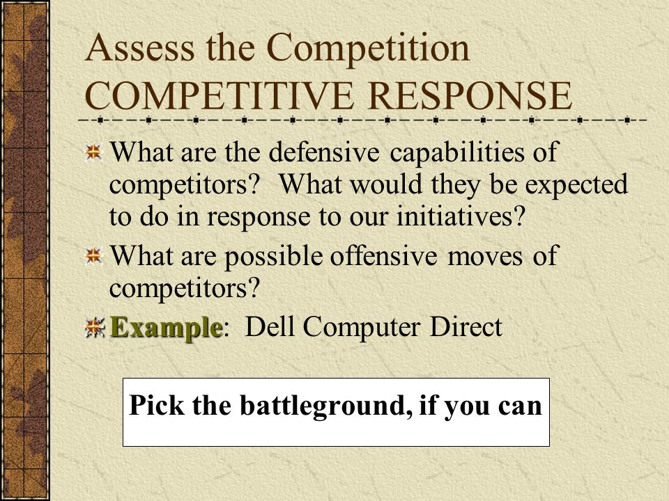 Assess the Competition COMPETITIVE RESPONSE What are the defensive capabilities of competitors.