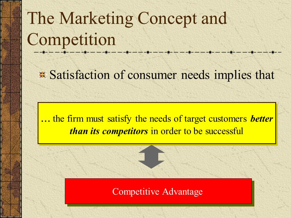 The Marketing Concept and Competition Satisfaction of consumer needs implies that... the firm must satisfy the needs of target customers better than i