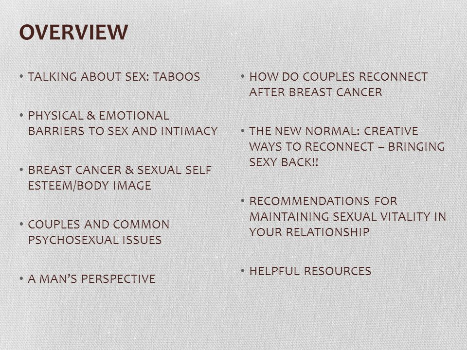OVERVIEW TALKING ABOUT SEX: TABOOS PHYSICAL & EMOTIONAL BARRIERS TO SEX AND INTIMACY BREAST CANCER & SEXUAL SELF ESTEEM/BODY IMAGE COUPLES AND COMMON PSYCHOSEXUAL ISSUES A MAN'S PERSPECTIVE HOW DO COUPLES RECONNECT AFTER BREAST CANCER THE NEW NORMAL: CREATIVE WAYS TO RECONNECT – BRINGING SEXY BACK!.