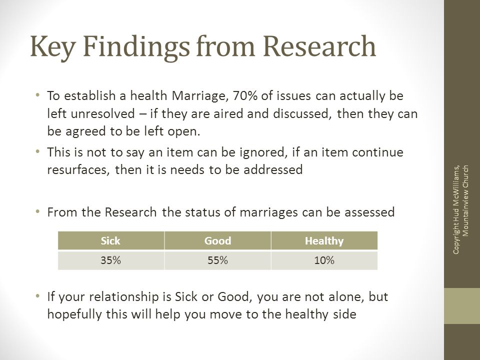 Key Findings from Research To establish a health Marriage, 70% of issues can actually be left unresolved – if they are aired and discussed, then they can be agreed to be left open.