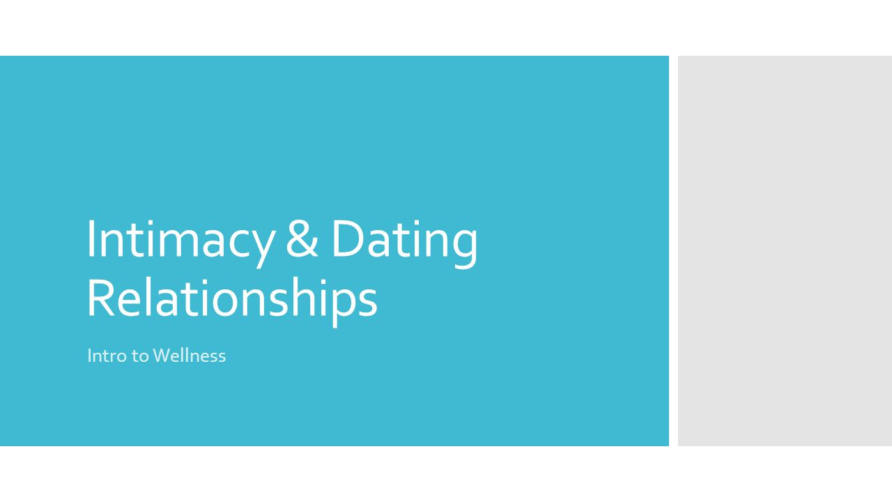 Intimacy & Dating Relationships Intro to Wellness