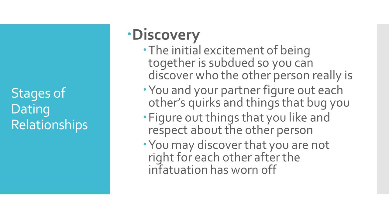 Stages of Dating Relationships  Discovery  The initial excitement of being together is subdued so you can discover who the other person really is 