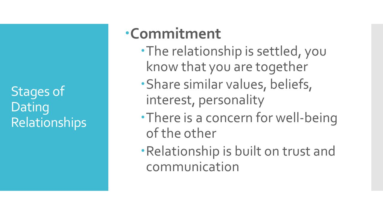 Stages of Dating Relationships  Commitment  The relationship is settled, you know that you are together  Share similar values, beliefs, interest, p