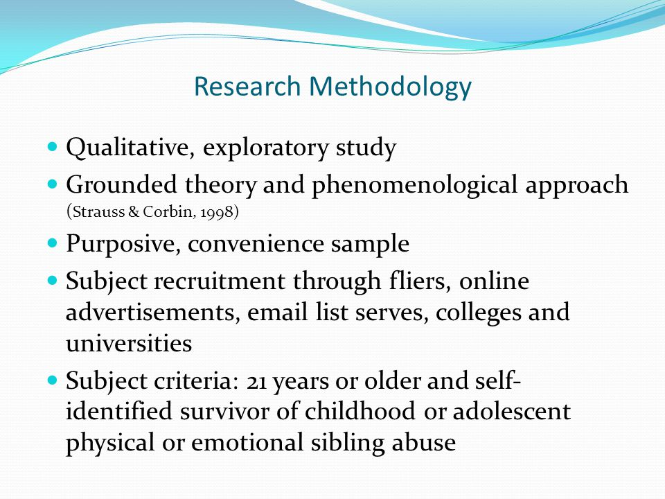 Qualitative, exploratory study Grounded theory and phenomenological approach ( Strauss & Corbin, 1998) Purposive, convenience sample Subject recruitment through fliers, online advertisements, email list serves, colleges and universities Subject criteria: 21 years or older and self- identified survivor of childhood or adolescent physical or emotional sibling abuse Research Methodology