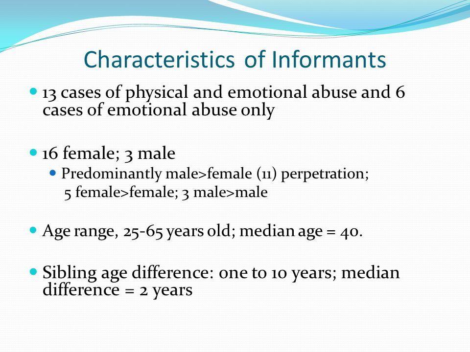 Characteristics of Informants 13 cases of physical and emotional abuse and 6 cases of emotional abuse only 16 female; 3 male Predominantly male>female (11) perpetration; 5 female>female; 3 male>male Age range, 25-65 years old; median age = 40.