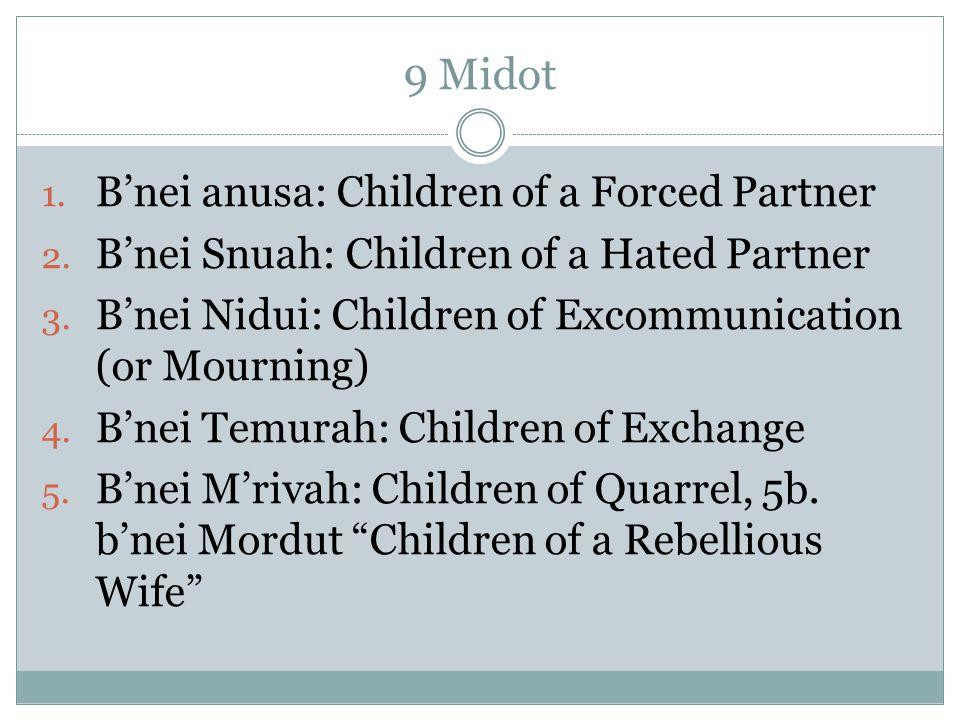 9 Midot 1. B'nei anusa: Children of a Forced Partner 2.