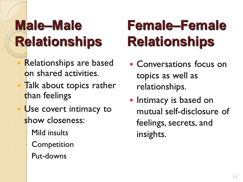 Relationships are based on shared activities. Talk about topics rather than feelings Use covert intimacy to show closeness: ◦ Mild insults ◦ Competiti
