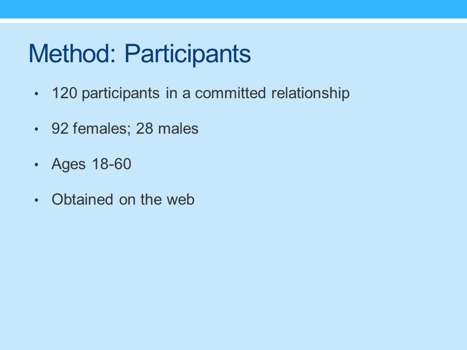 Method: Participants 120 participants in a committed relationship 92 females; 28 males Ages 18-60 Obtained on the web